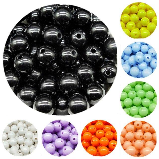 200/200/100/100/50 pcs/lot 3/4/6/8/10mm pas cher Chaude Acrylique Perles Convient pour BRICOLAGE À La Main Collier Bracelet Fabrication de Bijoux En Gros