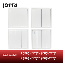 white Wall Switch Panel Light Switch 2 Gang 2 Way Push Button LED Indicator 16A,110~250V, 220V цена 2017