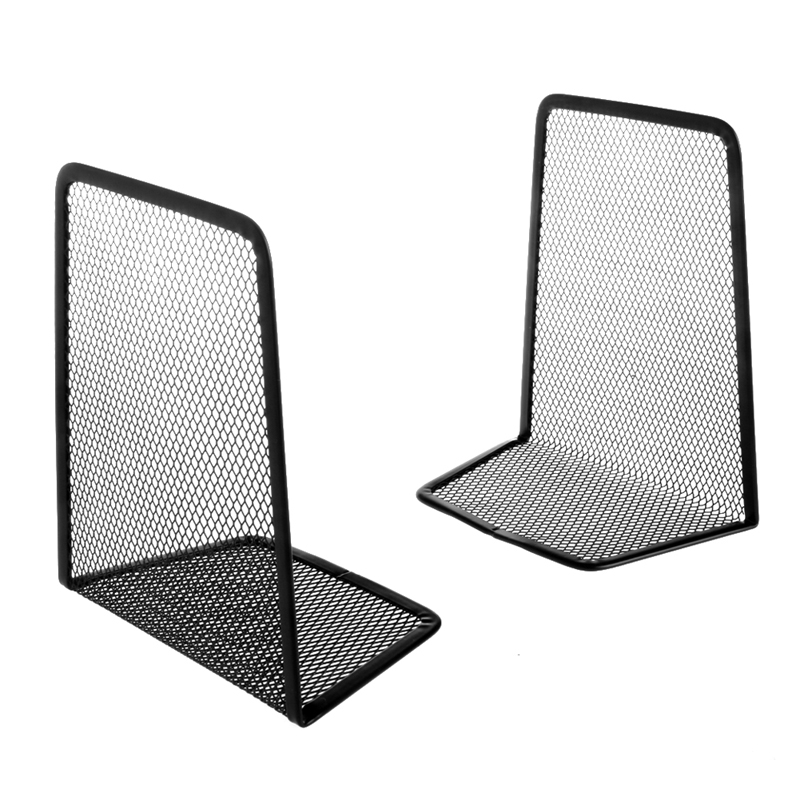 1 Pair Metal Mesh Desk Organizer Desktop Office Home Bookends Book Holder Black Drop Shipping Support