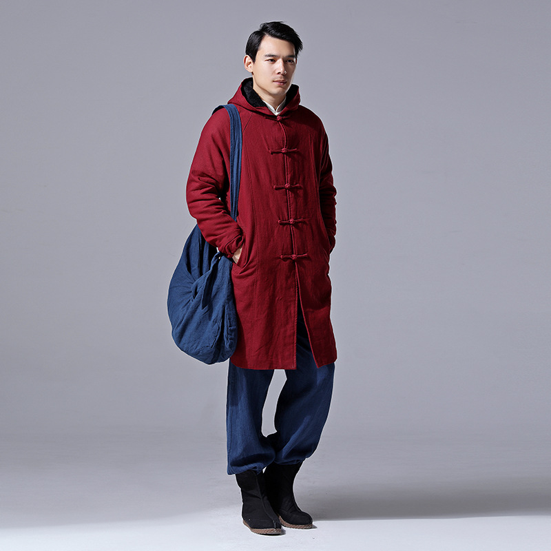 Winter Clothing Vintage Chinese Style Coat Long Style Cotton and Linen Mens Dress Thick Hooded Trench D629