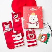 4 Paires Lot Chaussettes Femmes Hiver 2018 Chaussettes En Coton Épais 3D Oreilles Motif Animaux de Bande Dessinée Rouge Boîte De Cadeau De Noël Chaussette en gros