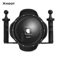 SHOOT 6 Inch Diving Go Pro 4 Dome Port With Stabilizer LCD Waterproof Case For GoPro