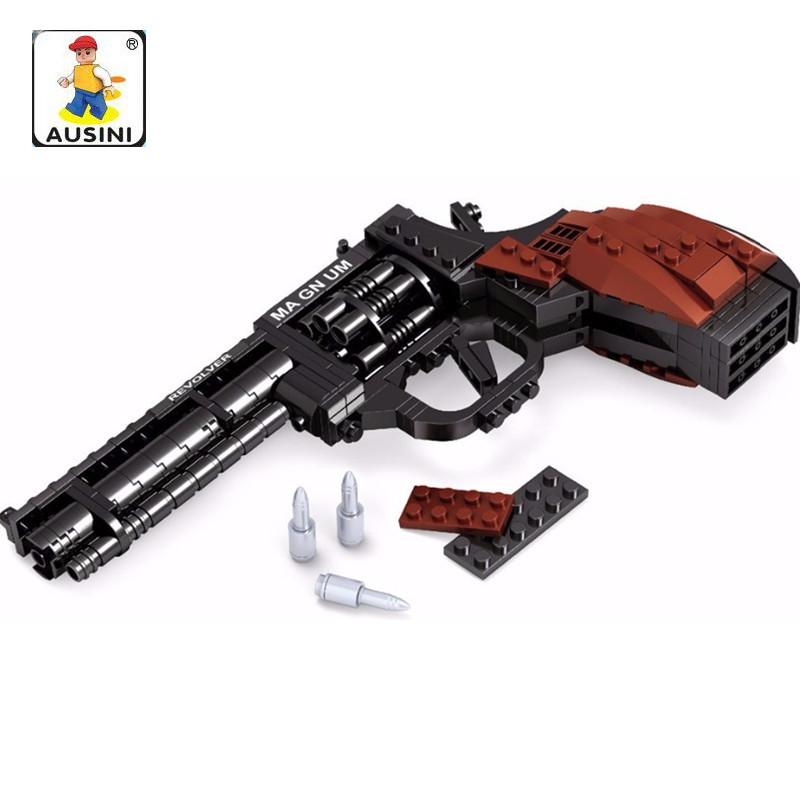 AUSINI 300Pcs Legoings Gun SWAT Magnum Revolver Pistol Power GUN Weapon Arms Model Toy Bricks Building Blocks Toys for Children military modern swat figure single sale police with shield gun weapon bricks building blocks set model toys for children