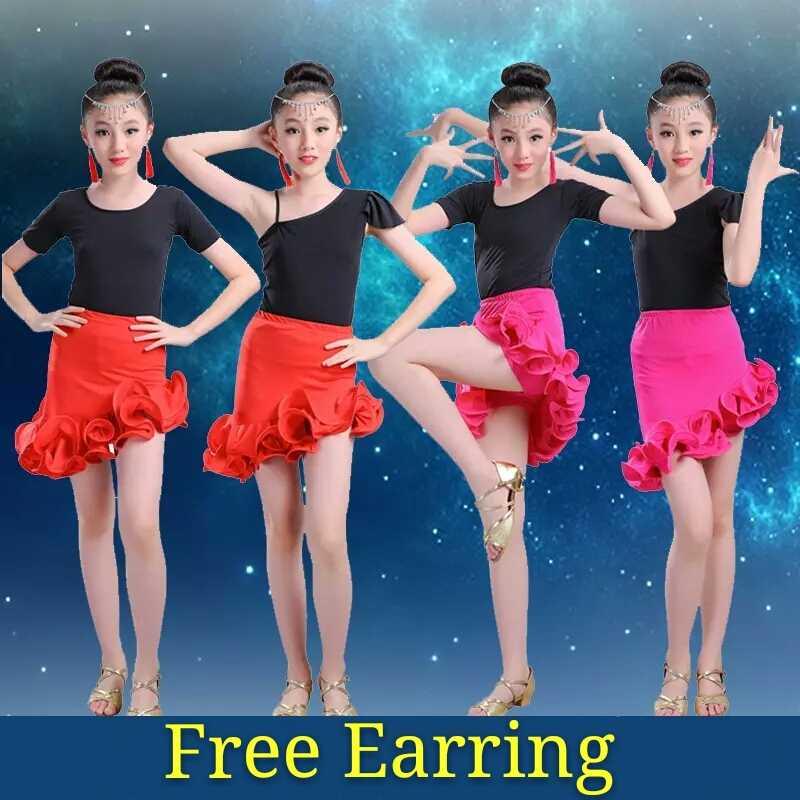 Красный/черный Халат танцевальные латинские бахрома для сальсы юбки для девочек лати танцевальные костюмы для соревнований детская бальная одежда платье для самбы