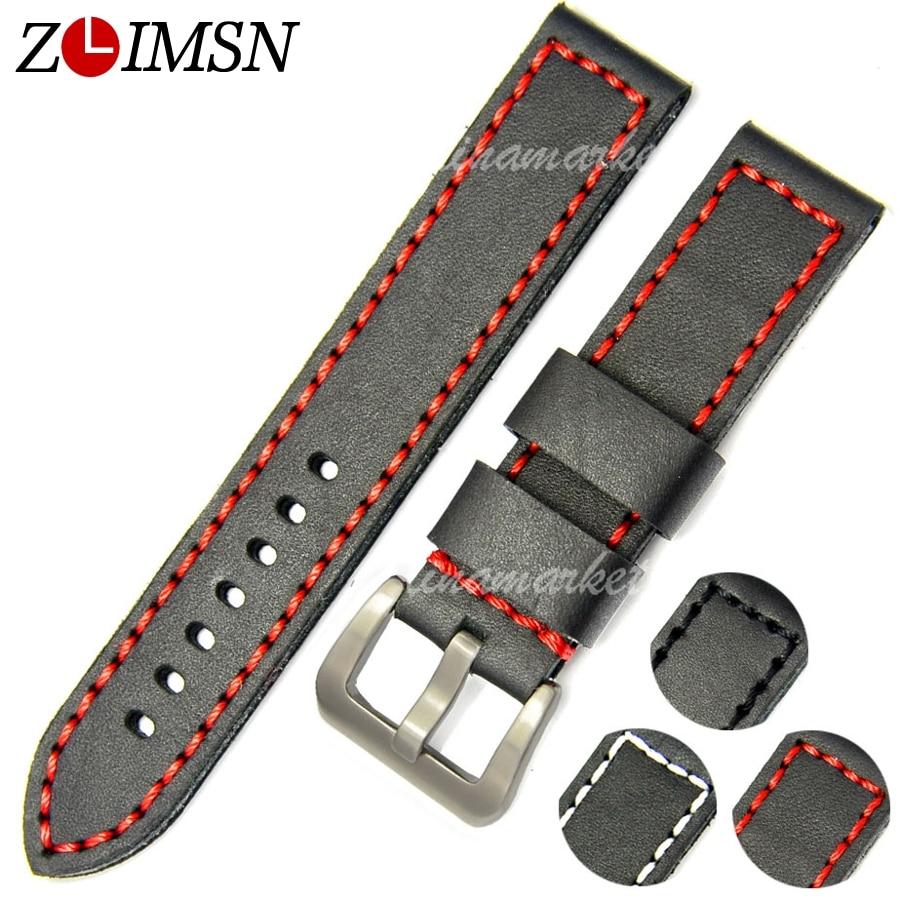 ZLIMSN Thick Watch Belt Genuine Leather Watchbands 20 22 24mm Bands Silver Buckle Watches Accessories Relojes