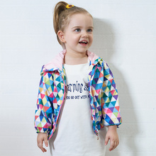 Toddler Real Active New Arrival Spring/autumn little Girls Outwear Children's Plaid Hooded Jackets Cute Kid Sleeve Windbreaker