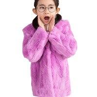 Детское пальто с кроличьим мехом зимняя теплая меховая одежда для малышей однотонное длинное пальто для девочек Рождественская шапка с пом
