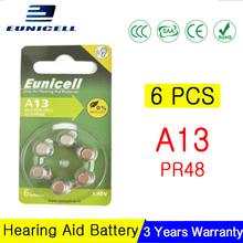 6PCS EUNICELL NEW 300mAh Zinc Air Hearing Aid Batteries A13