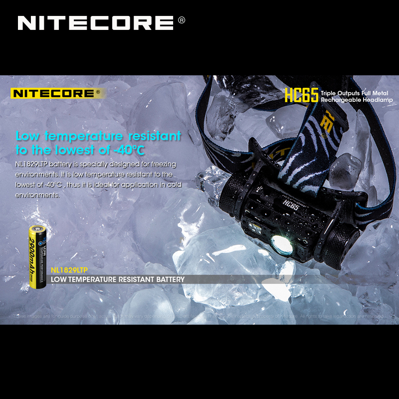 Top 1 Selling Nitecore HC65 CREE XML2-U2 LED 1000 Lumens Triple Output Full Metal Rechargeable Headlamp with Li-ion Battery 4