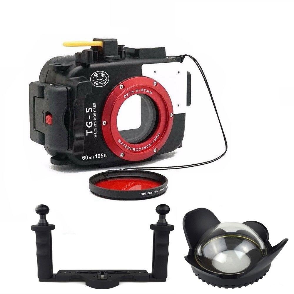 Étui de caméra étanche de plongée sous-marine DF oceanrogs 60M pour appareil photo Olympus TG5 avec MEIKON 67mm Fisheyes livraison gratuite