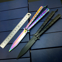 Rainbow No Edge Practice Butterfly In Knife Bali Song Trainer Training Pocket Knives CS Go Game