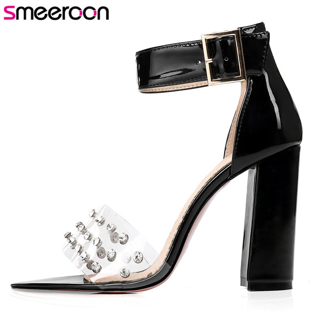 Smeeroon 2018 new style Size 34-48 fashion high quality buckle 10cm high heels sandals women sexy ladies summer shoes drop ship