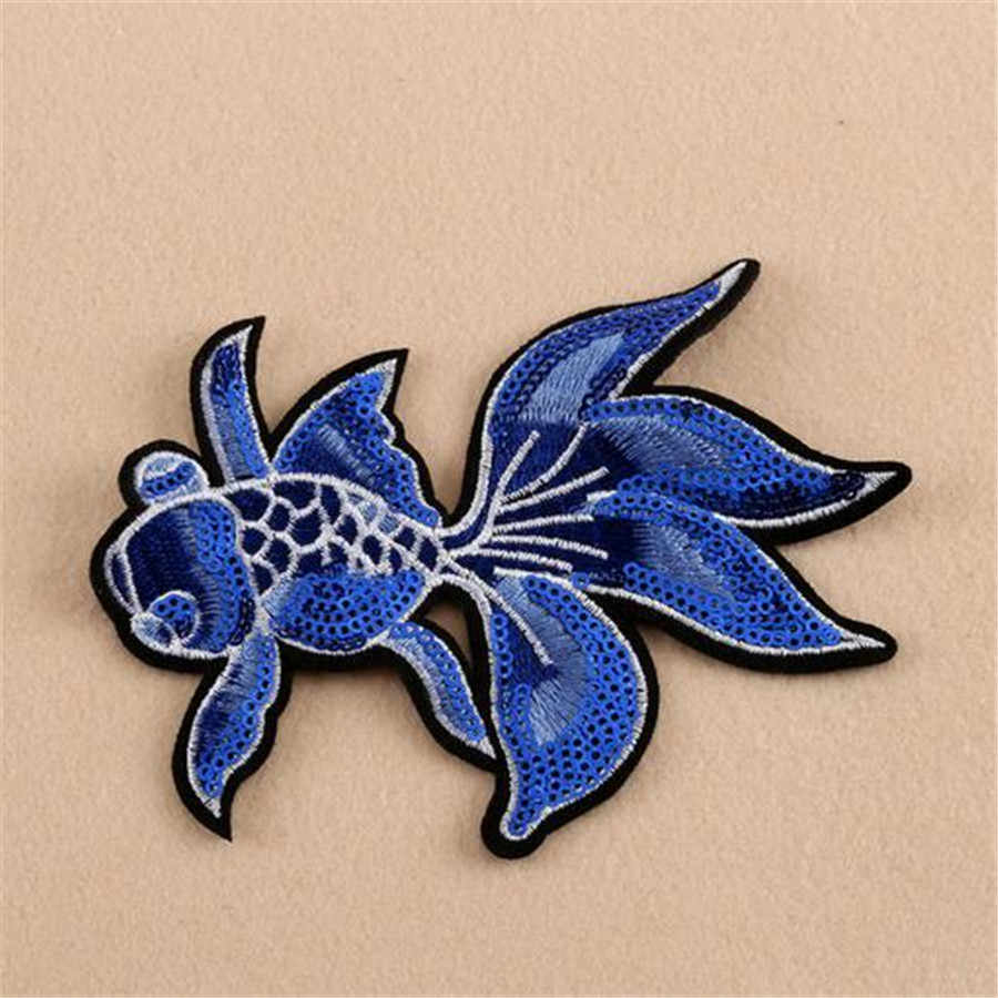 Sequins patch fish Applique embroidery Women/Men/Kids patches deal with it carp diy cute Stickers for clothes T-shirt/Jeans/Coat
