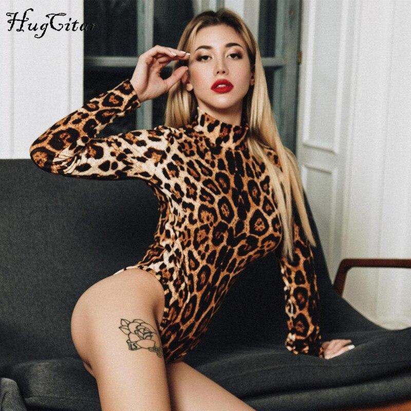 Hugcitar leopard print high neck long sleeve bodycon bodysuit 2019 autumn winter women fashion casual Christmas party body