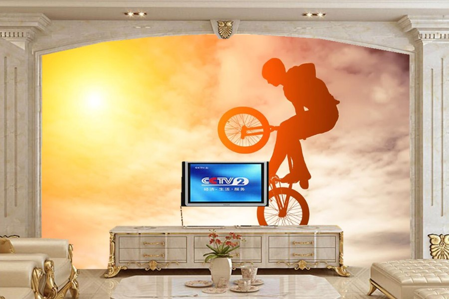 Large murals,Sky Bicycle Jump Silhouette Sport wallpapers,living room tv sofa wall 3d wall murals wallpaper papel de parede 3d large murals colorful sky ceiling wallpaper for walls 3 d ktv bar wallpaper living room bedroom papel de parede