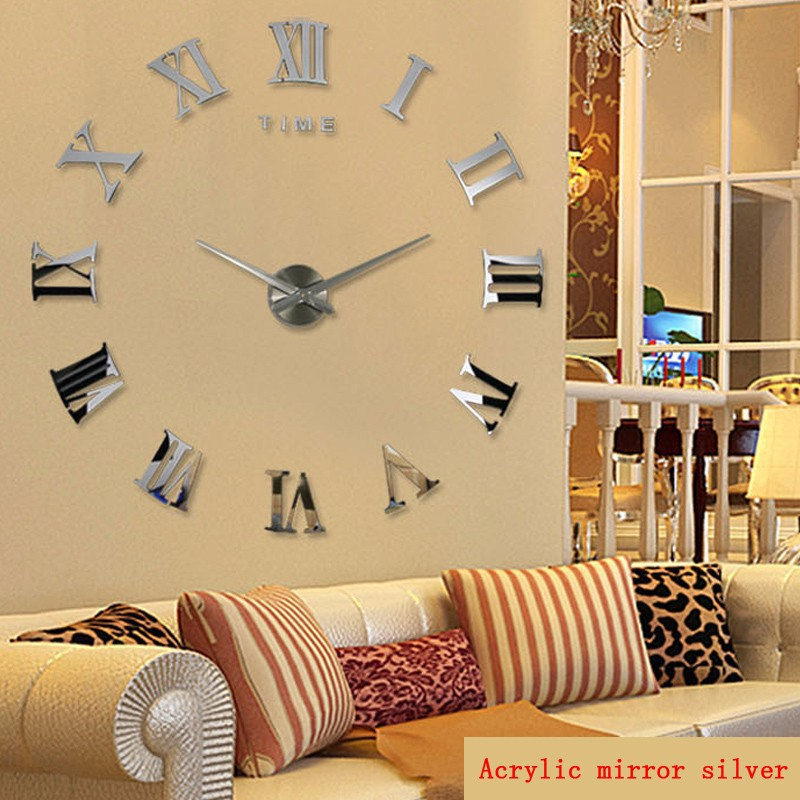 promotion 16 new home decor large roman mirror fashion modern Quartz clocks living room diy wall clock watch free shipping 2