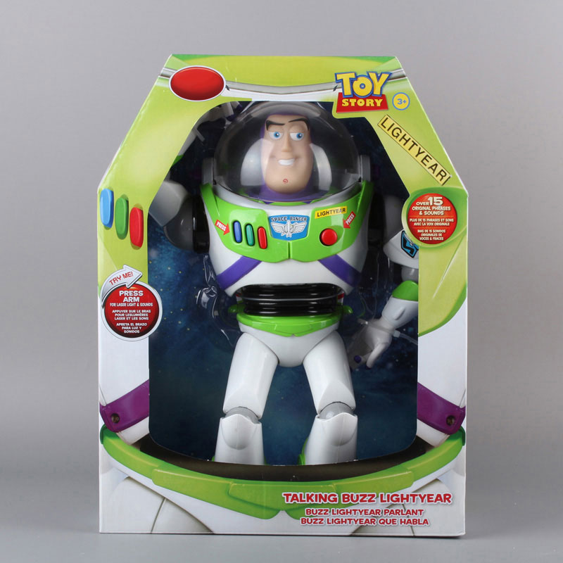 Orignal Toy Story 3 Buzz Lightyear Toys Talking Buzz Lightyear PVC Action Figure Collectible Toy 12 30CM original toy story 3 buzz lightyear robot light voice elastic wings 30cm action music anime figure kids toys for children p2