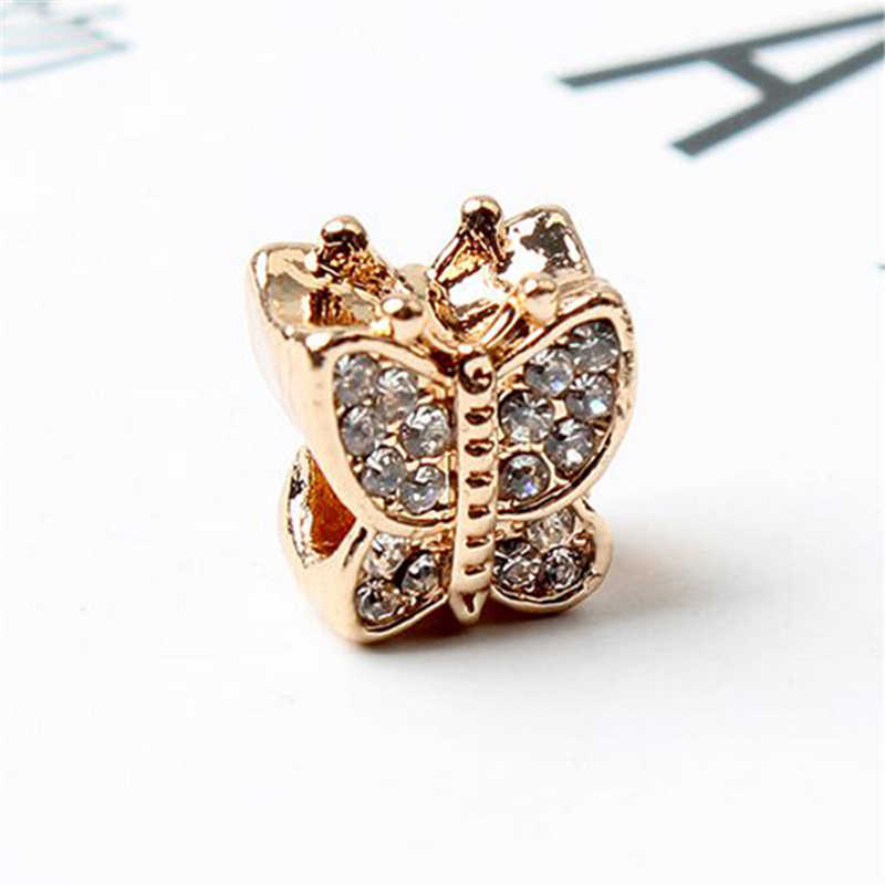 Btuamb New Fashion Luxurious Butterfly Bow Leaves Micky Snake Crown Charms Beads Fit Pandora Bracelets for Women Making Jewelry