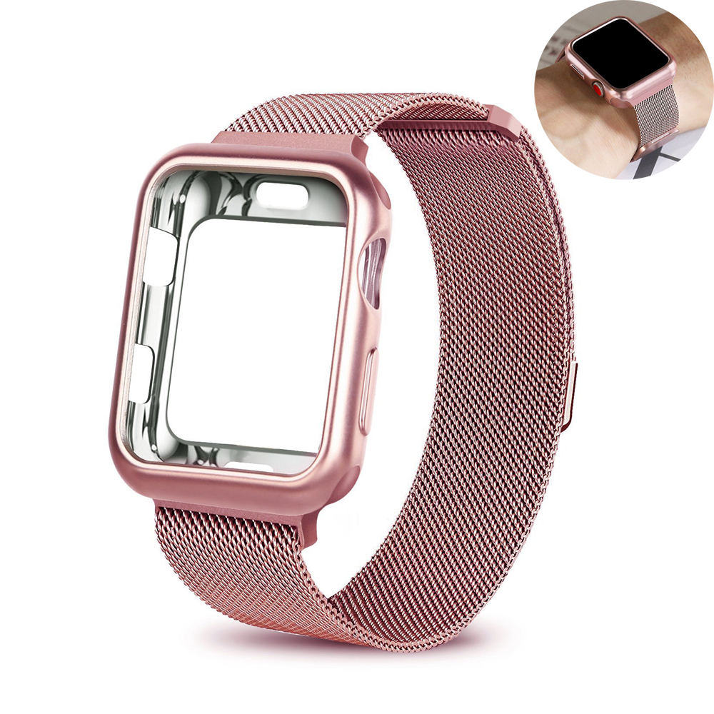 Case+strap for Apple Watch Band 4 44mm 40mm iwatch 3 band 42mm 38mm Milanese Loop bracelet+watch case Stainless Steel watchbandCase+strap for Apple Watch Band 4 44mm 40mm iwatch 3 band 42mm 38mm Milanese Loop bracelet+watch case Stainless Steel watchband