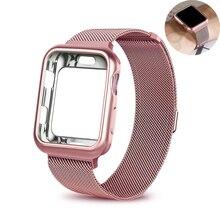 case+strap for Apple Watch Band 44mm 40mm iwatch series 4 bracelet wrist Stainless Steel Mesh Milanese Loop metal watchband