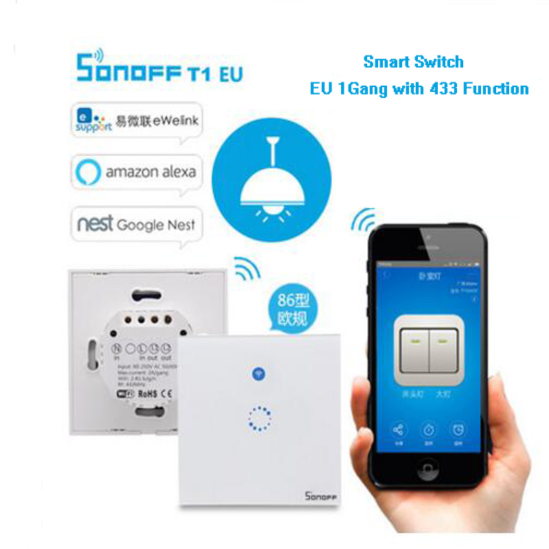 Itead Sonoff T1 EU 1gang Smart Home Automation Module Wifi Switch With 433 Function,Touch LED Light Wall Timer Smart Switch eu us smart home remote touch switch 1 gang 1 way itead sonoff crystal glass panel touch switch touch switch wifi led backlight