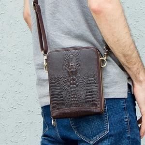 Image 5 - Top Qualität Männer Messenger Schulter Tasche Aus Echtem Leder Vintage männer Krokodil Umhängetasche Mit Karte Halter Handy Tasche