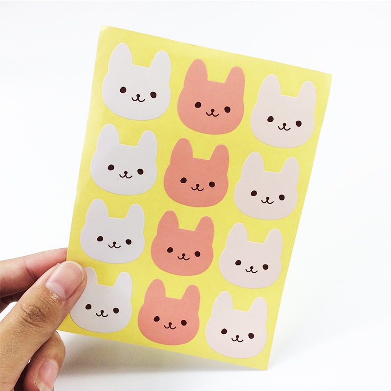 120PCS  3 COLOURS Rabbit Design DIY Multifunction Stickers Cute Smile Rabbit Seal Sticker Gift Packaging Label