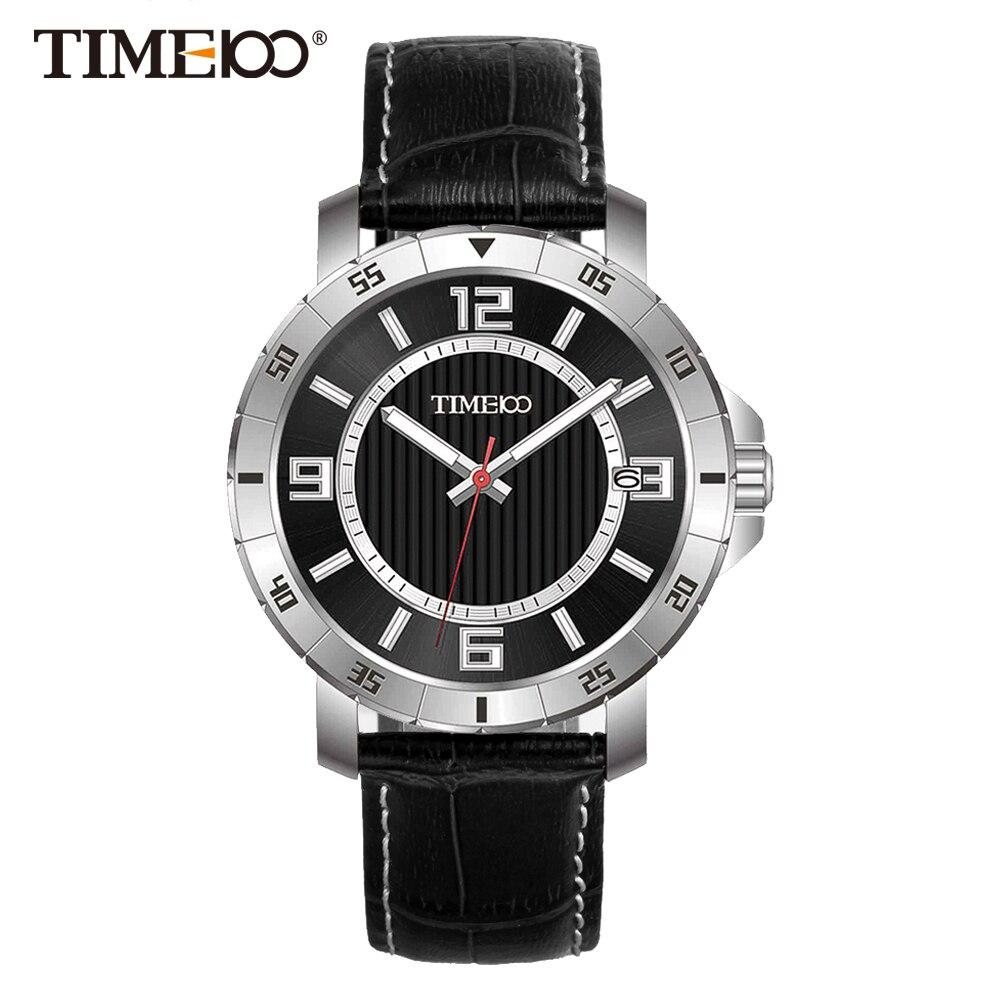 Time100 Men Watches Black Leather Strap Auto Date Quartz ...