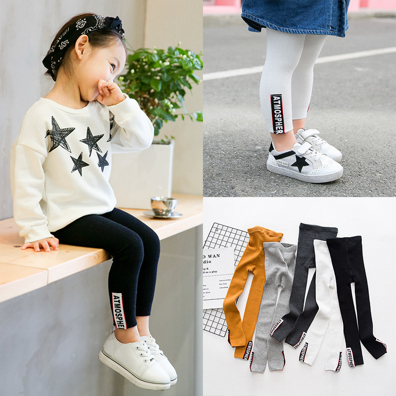 100% Cotton Girls Leggings With Color Patch High Quality Cheap Warm And Comfortable Trousers For Girls  Age 3 To 8 Years Old