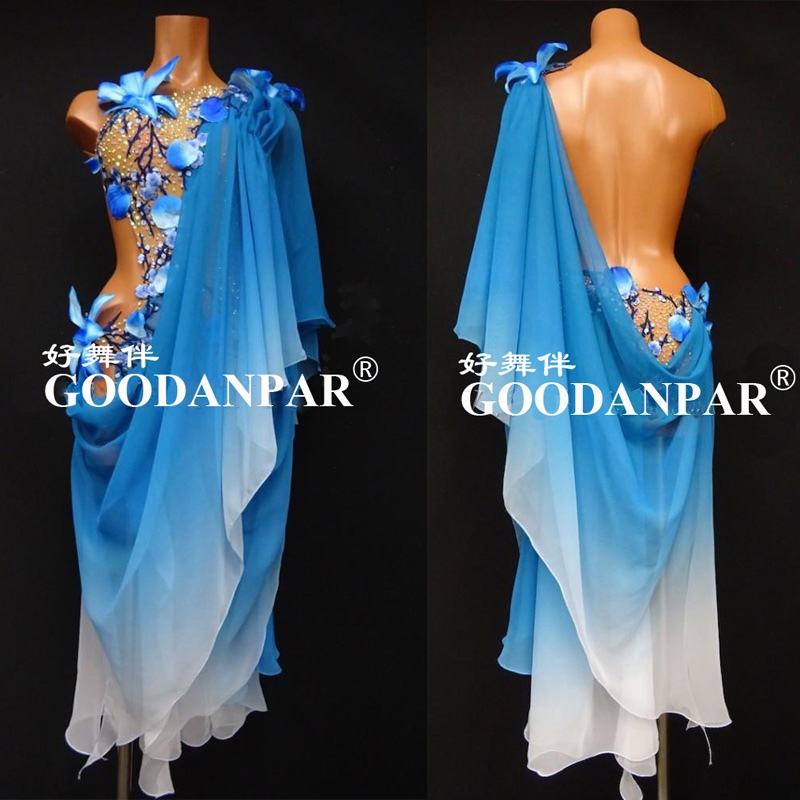 GOODANPAR New Style Latin Dance Dress Women Girls  Lycra Dance Wear Salsa Samba Rumba Costume With Bodysuit Bra White Graded