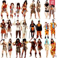 Halloween Costumes Indigenous Primitive Cosplay Performance Suits Adult Men And Women Indian Leopard Savage Clothes