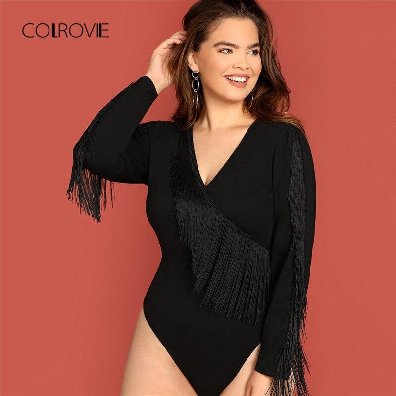 c60a415bd39c COLROVIE Plus Size Black Solid Fringe Long Sleeve Elegant Bodysuit Women  2018 Autumn Fashion Sexy Office