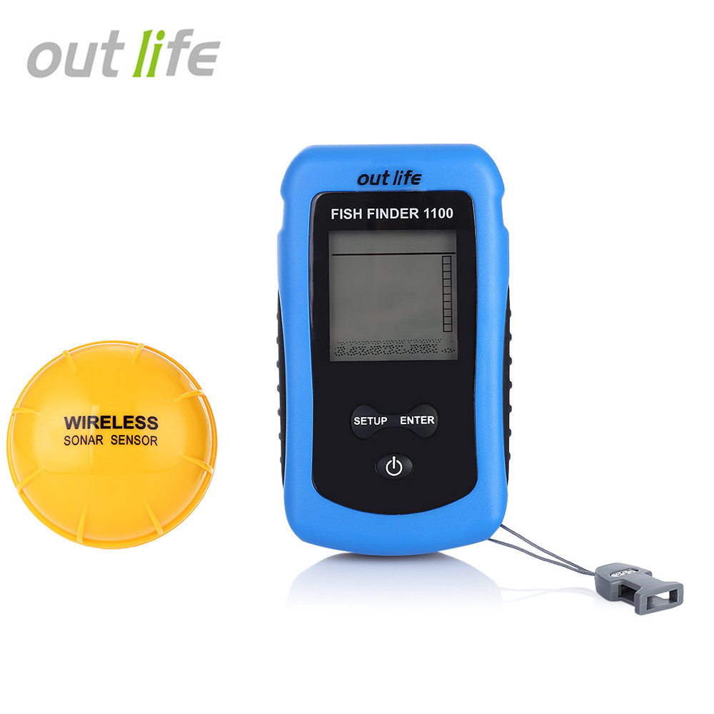 Outlife Outlife Wireless LCD Water-resistant Fish Finder Ultrasonic Sonar Sensor Echo Sounder lucky ffw1108 1 color lcd display portable wireless sonar fish finder water resistant 40m 120ft depth sonar sounder alarm b9
