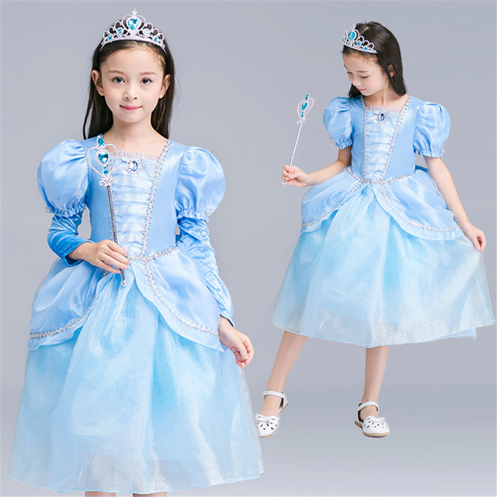 Cinderella Princess Dress Girls Dresses Children Cosplay Costume Baby Christmas Clothing Girl Cartoon Dress Kids Clothes Vestido princess cinderella girls dress snow white kids clothing dress rapunzel aurora children cosplay costume clothes age 2 10 years