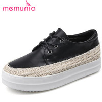MEMUNIA Flat Platform Shoes Women Lace Up Genuine Leather Loafers Shoes Four Seasons College Wind Big