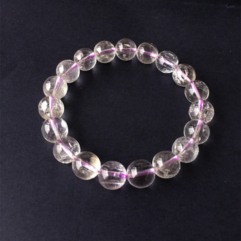 Natural Genuine Clear Light Purple Kunzite Stretch Finish Bracelet Round beads 9mm