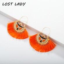 Lost Lady 2019 Bohemia Dangle Drop Earrings Women Accessories Fan Shaped Cotton Handmade Tassels Fringed Ethnic Jewelry