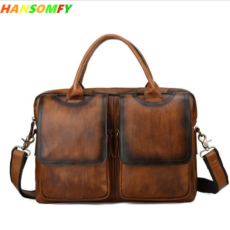 2018 new retro first layer leather briefcase men's handbag cross section men business bag shoulder Messenger bags delin men bag business package men s handbag shoulder bag cowhide briefcase cross section first layer leather bag men s section