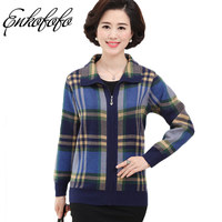 Enkofofo Women Cashmere Sweater Coat Fashion Plus Size Mother Clothing Plaid Print Wool Cardigan Long Sleeve Jumper Sweaters