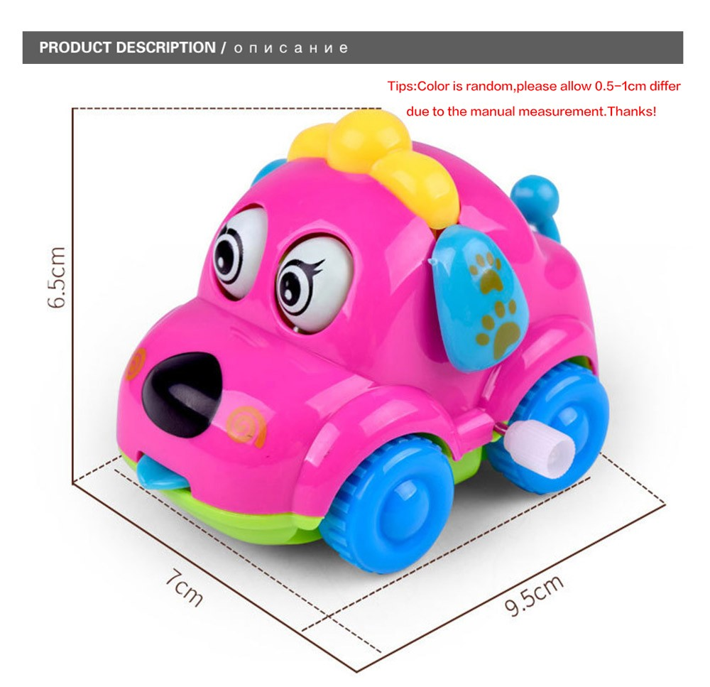 Cute Cartoon Animal Dog Wind Up Toys Running Car Clockwork Classic Toy Newborn Spring Toy Random Color 2