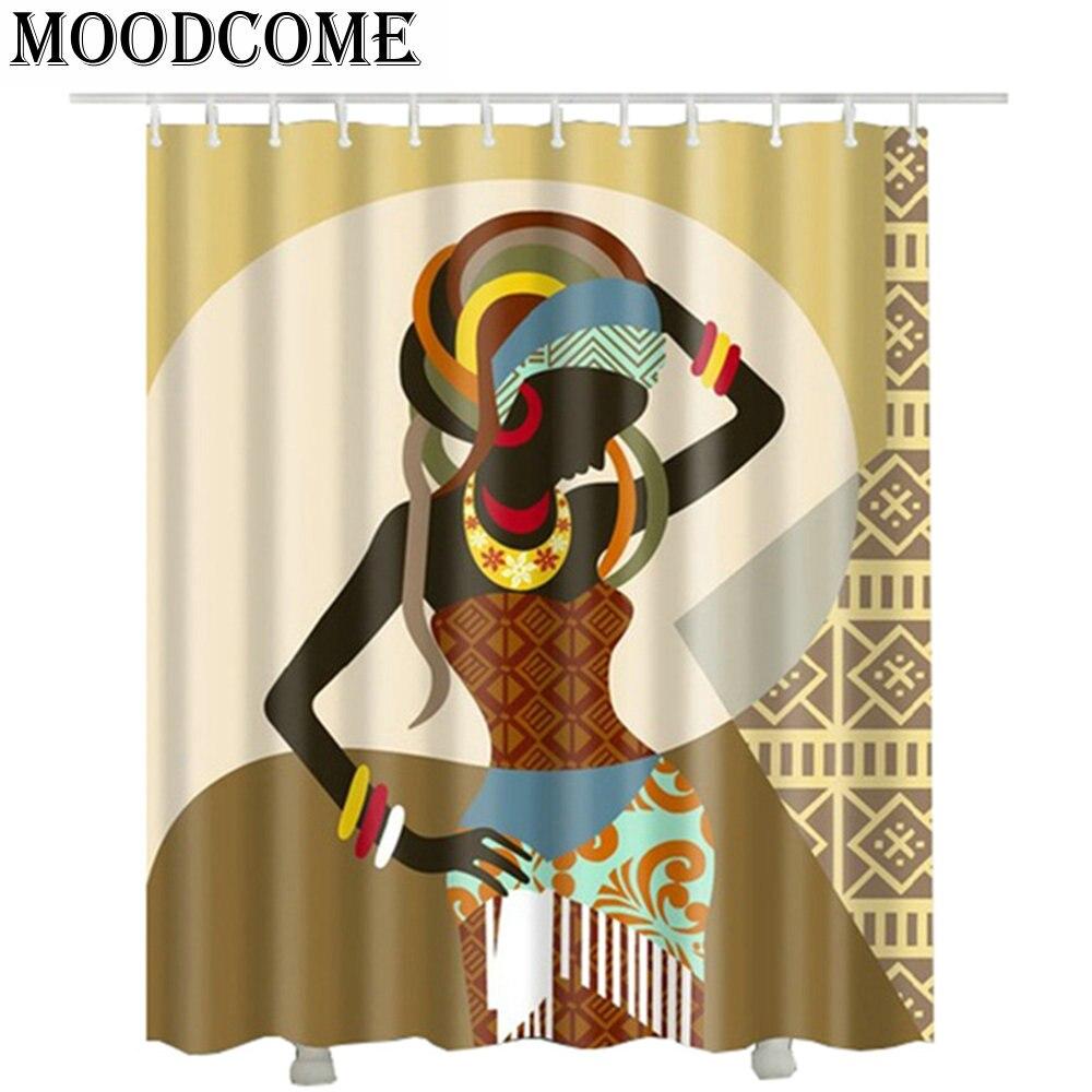 Frauen Afrikanische duschvorhang wasserdicht fashion 2018 douchegordijn 3d polyester Duschvorhänge