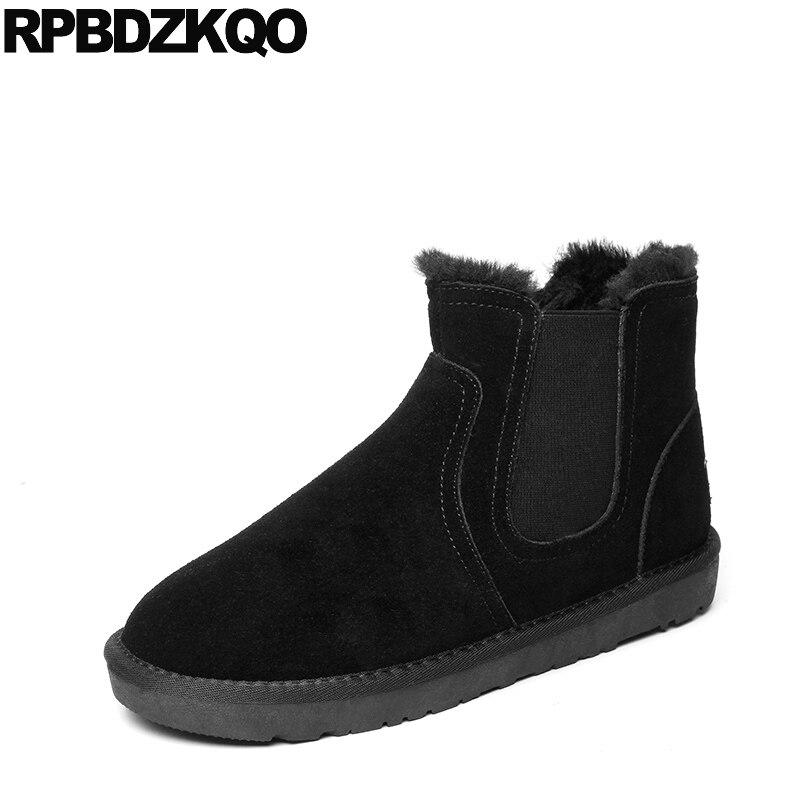 Suede Faux Fur Chelsea Plus Size Booties 2017 Shoes Black Ankle Mens Winter Boots Warm Fashion Short Male Comfortable High Top belt buckle faux fur suede short boots