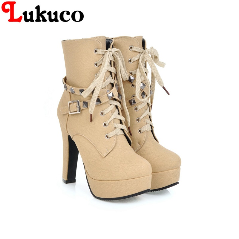 2018 elegant large size 39 40 41 42 43 44 45 46 47 48 49 Lukuco women boots lace-up design high quality lady shoes free shipping