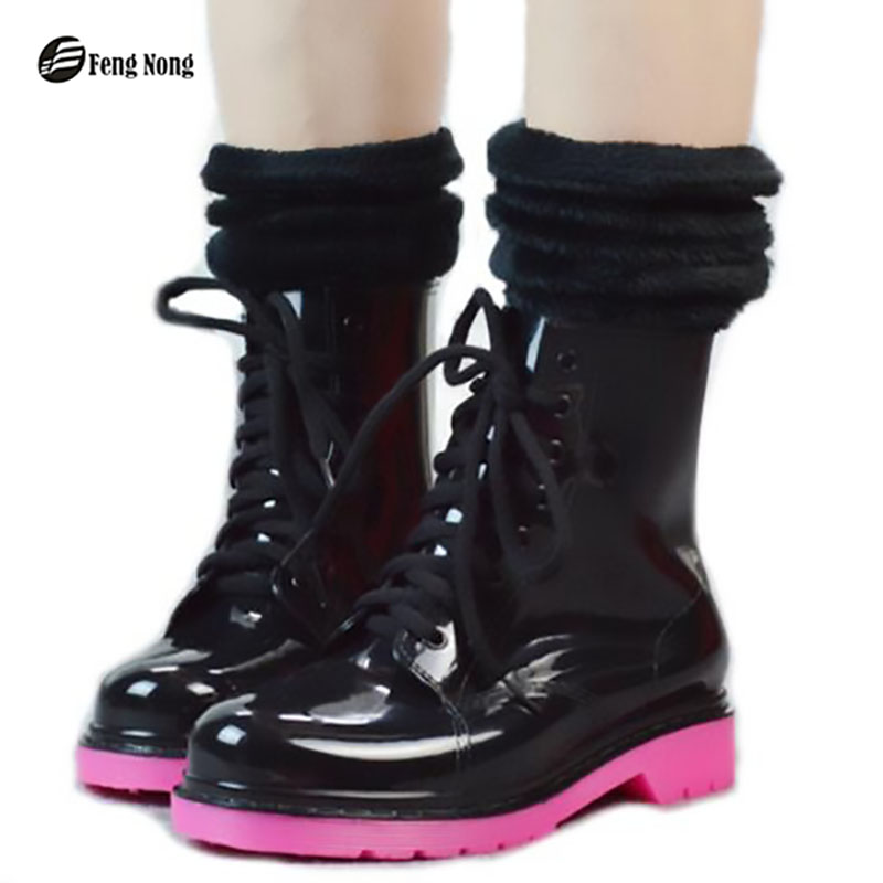 Fengnong Shinning PVC Warm Women Rubber Boots Colorful Thicken Shoes Fashion Slip On Waterproof Motorcycle Martin Shoes W169