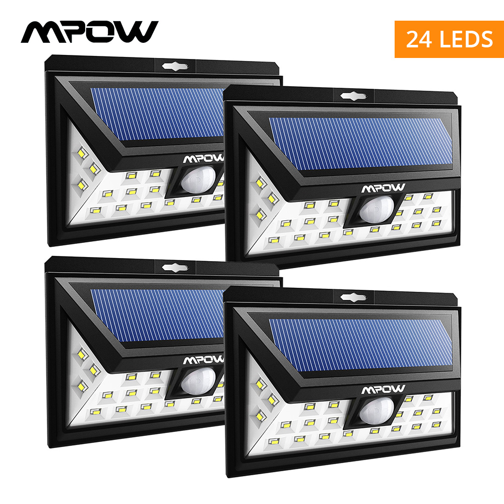 Mpow 24 LED solar lighting 4 pcs IP65 Wide Angle Security Motion Sensor Light with 3