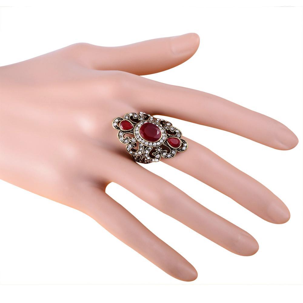 Joyme Antique Wedding Rings Black Red Resin Carved Flower Punk Boho ...