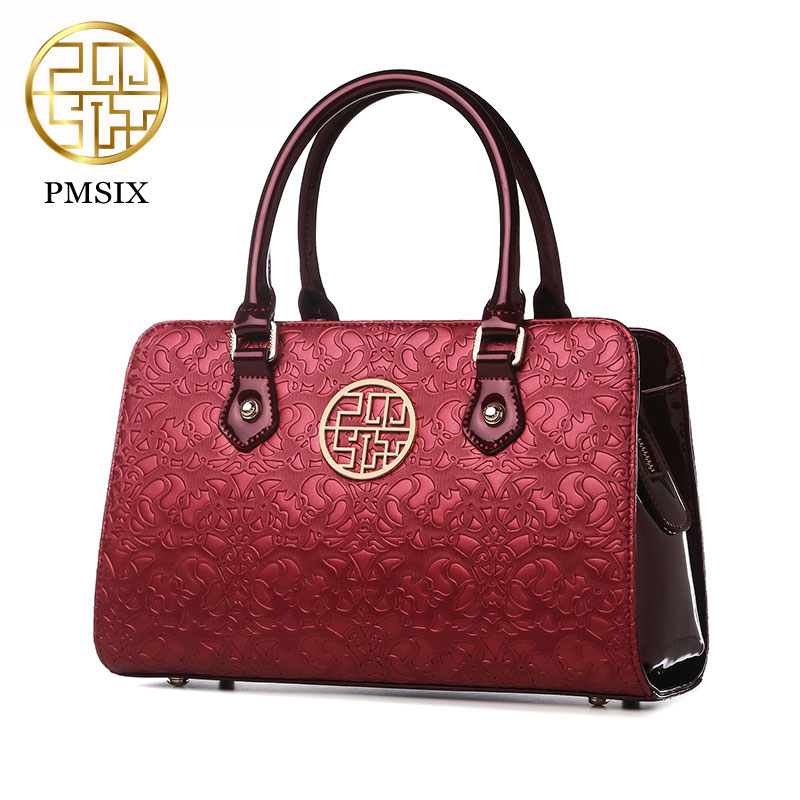 Luxury PU shoulder bag retro Chinese style bag ladies Pmsix 2017 message women Fashion bag black/red/purple P140010