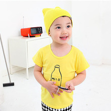 Toddler Baby Boy Short Sleeve Clothes yellow print Comfort Pullover T-Shirt Infant Kid Tops Shirts