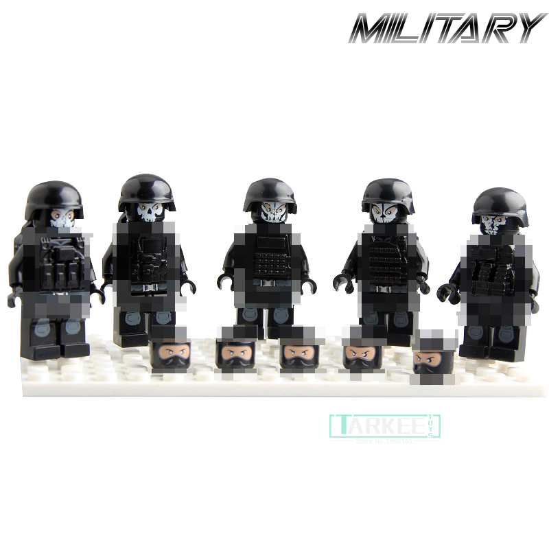 5pcs/set Ghost Soldier Military Figures Building Blocks Model Sets Toys Boys Educational Toys for Children Gift Kids Bricks kazi 2017 new 635010 15 military series super weapon figures tank model building blocks set bricks kids children toys gift