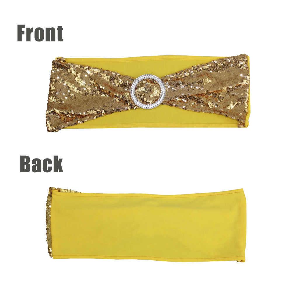 50 unids/lote decoración para fiesta de boda bordado dorado/plateado lentejuelas densas banda elástica Silla de banquete de hotel decoración trasera